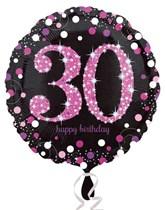 "30th Birthday Black & Pink Celebration 18"" Foil Balloon"