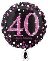 "40th Birthday Black & Pink Celebration 18"" Foil Balloon"