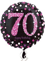 "70th Birthday Black & Pink Celebration 18"" Foil Balloon"
