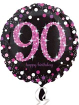 "90th Birthday Black & Pink Celebration 18"" Foil Balloon"