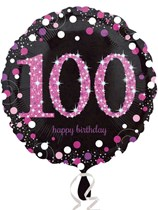 "100th Birthday Black & Pink Celebration 18"" Foil Balloon"