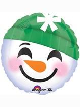 "Christmas Snowman Emoji 18"" Foil Balloon"