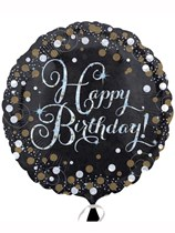 "Birthday Black & Gold Sparkle 18"" Foil Balloon"