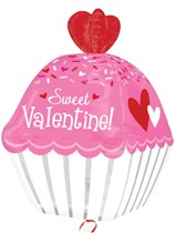 "Sweet Valentine Cupcake 24"" Ultra Shape Foil Balloon"