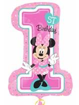 "Minnie 1st Birthday 28"" Supershape Foil Balloon"