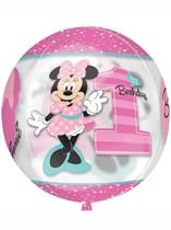 "Minnie Mouse 1st Birthday Clear 16"" Orbz Balloon"