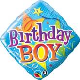 "18"" Diamond-shaped Birthday Boy Foil Balloon"