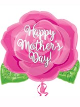 Happy Mother's Day Pink Rose Junior Shape Foil Balloon