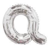 """Silver Letter Q Air Fill 14"""" Foil Balloon"""