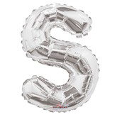 "Silver Letter S Air Fill 14"" Foil Balloon"