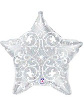 "Silver Holographic Filigree Star 21"" Foil Balloon"