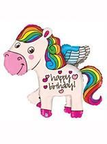 "Birthday Rainbow Pony 45"" Supershape Balloon"