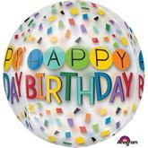 "Happy Birthday Rainbow Confetti 16"" Clear Orbz Balloon"