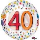 """40th Birthday Rainbow Clear Orbz 16"""" Foil Balloon"""