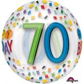 "Happy 70th Birthday Rainbow Clear Orbz 16"" Foil Balloon"