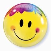 """Bright Yellow Smiley Face Bubble Balloon 22"""""""