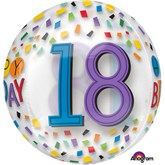 "18th Birthday Rainbow Clear Orbz 16"" Foil Balloon"
