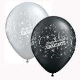 Black & Silver Graduate Latex Balloons 25pk