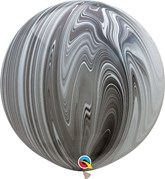 "Black and White SuperAgate 30"" (2.5ft) Latex Balloons 2pk"