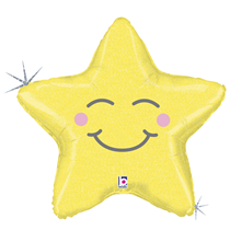 "Smiling Yellow Star 26"" Foil Balloon"