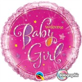 "Pink Welcome Baby Girl Holographic 18"" Foil Balloon"