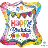 Bright Party Bunting Birthday SuperShape Foil Balloon