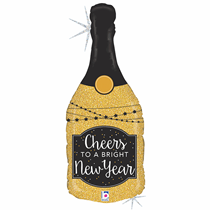 """Cheers New Year Champagne Bottle 36"""" Foil Glitter Balloon"""