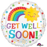 "Get Well Soon Happy Sun Rainbow 18"" Foil Balloon"