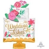 Wedding Wishes Cake SuperShape Foil Balloon