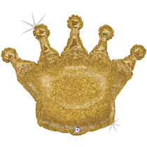 """Glittering Gold Holographic Crown 36"""" Foil Balloon"""