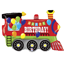 "Happy Birthday Party Train 37"" Foil Balloon"