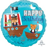 "Pirate Ship Happy Birthday 18"" Foil Balloon"