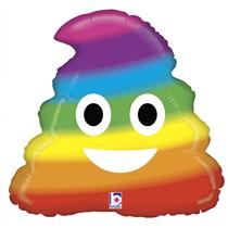 "Rainbow Emoji Poop 20"" Foil Balloon"