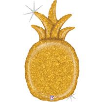 "Gold Glitter Holographic 35"" Pineapple Foil Balloon"