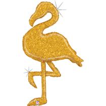 "Glittering Gold Holographic 53"" Flamingo Balloon"
