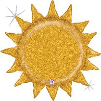 "Gold Glitter Holographic Sun 30"" Foil Balloon"