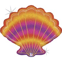 "Glitter Holographic Seashell 30"" Foil Balloon"