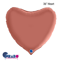 "Grabo Satin Rose Gold 36"" Heart Foil Balloon"