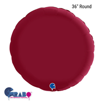 "Grabo Satin Cherry Red 36"" Round Foil Balloon"