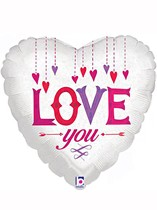"Love You White Heart 18"" Valentine's Day Foil Balloon"