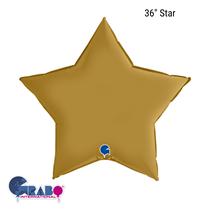 "Grabo Satin Gold 36"" Star Foil Balloon"