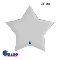 "Grabo Satin White 36"" Star Foil Balloon"