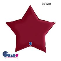 "Grabo Satin Cherry Red 36"" Star Foil Balloon"