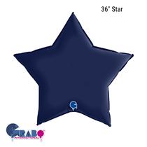 "Grabo Satin Navy Blue 36"" Star Foil Balloon"