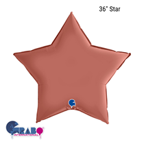 "Grabo Satin Rose Gold 36"" Star Foil Balloon"