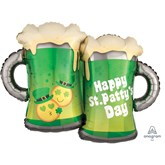 "St. Patrick's Day Emoji Beer 32"" SuperShape Foil Balloon"