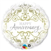 "18"" Happy Anniversary Silver & Gold Foil Balloon"