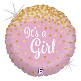 "Pink It's a Girl Holographic Confetti 18"" Foil Balloon"