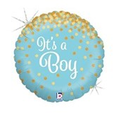 "Blue It's A Boy Holographic Confetti 18"" Foil Balloon"
