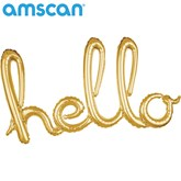 "Gold Hello Script 39"" Foil Balloon"